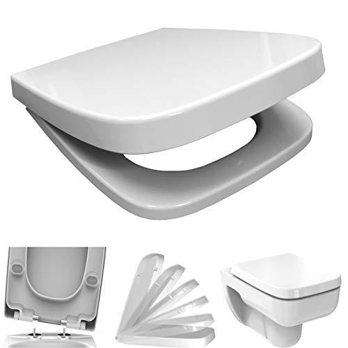 WC Sitz mit Absenkautomatik Softclose eckig | passend für Keramag Renova Nr. 1 Plan | weiß | Edelstahlscharnier | antibakterielles Duroplast | TakeOff | Toilettendeckel Klodeckel