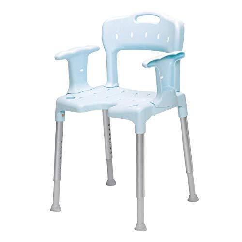 Swift - Silla para ducha con reposabrazos y respaldo, color azul ⭐