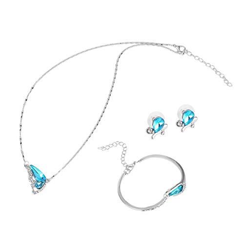 KoelrMsd Collar Pendiente Pulsera Mariposa Conjunto de Joyas Conjunto de Cristal Plateado Joyas Accesorios de Boda