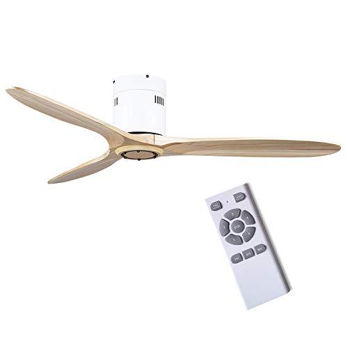 Ceiling Fan Plafondventilator, 42 inch, massief houten plafondventilator, zonder licht, retro, ventilator voor huis en bedrijf met variabele frequentie, omkeerbare motor met variabele frequentie, omkeerbare motor