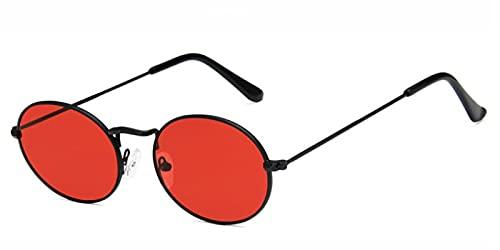 Secuos Gafas De Sol Pequeñas Ovaladas para Mujer Y Hombre, A La Moda, Gafas De Sol De Aleación para Mujer, Gafas De Sol Doradas Y Grises, Gafas Uv400, Blackred