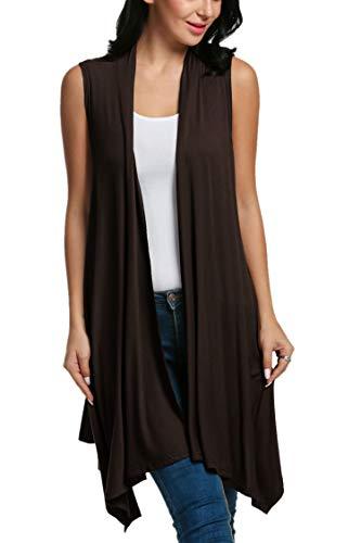 Beyove Women's Asymetric Hem Sleeveless Open Front Drape Cardigan Sweater Vest Coffee L