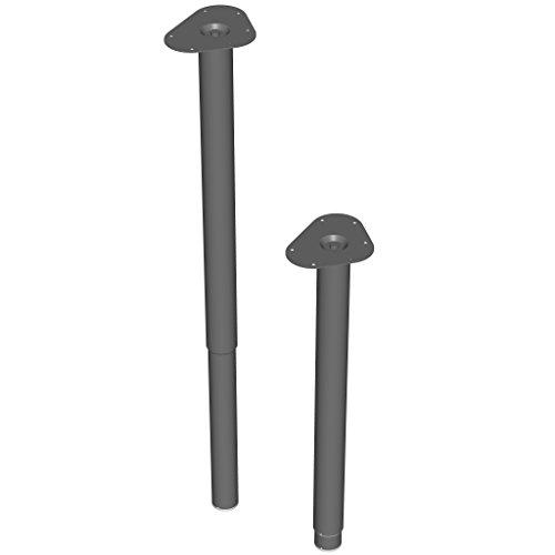 Element System 18133-00335 4 Stück Teleskopfüße Expand rund/Tischbein verstellbar/inkl. Anschraubplatte/L 60-90 cm/Ø 50 mm/schwarz / 3 Farben