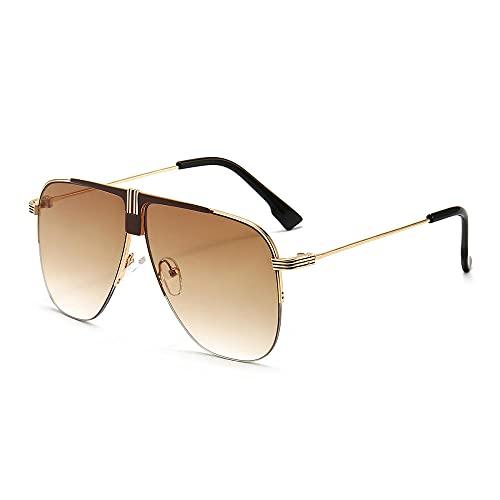 XDOUBAO Gafas Gafas de sol Espejo de rana de tres colores Tendencia para hombres y mujeres Gafas de sol Gafas de sol EyeGOes-Color foto_Marco de oro doble té