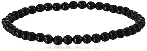 Smooth Round 4 mm Black Onyx Stretch Bracelet,7'
