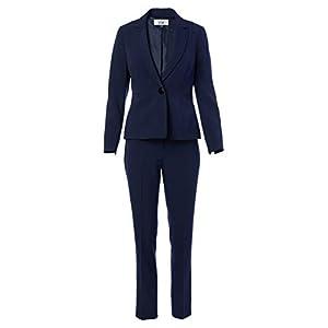 Le Suit Women's 1 Button Notch Collar Seamed Stretch Crepe Slim Pant Suit