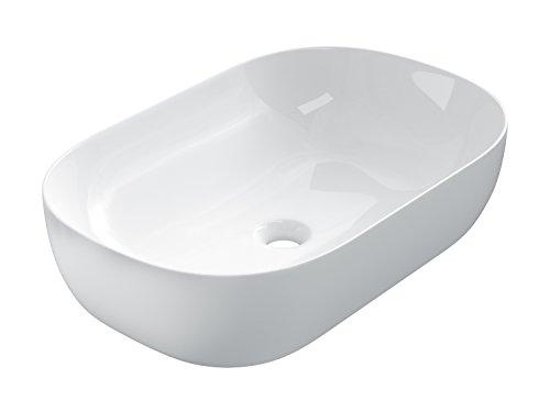 STARBATH PLUS Keramik Aufsatzwaschbecken Oval Waschschale Handwaschbecken (60 x 40 x 15 cm, Weiß)