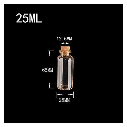 ZHANGHONGWEI Botellas de Vidrio vacías con corchos Clear Sello Frascos Contenedores de frascos para Alimentos Almacenamiento de Perfume líquido 15ml 20ml Botellas de 25 ml 24pcs