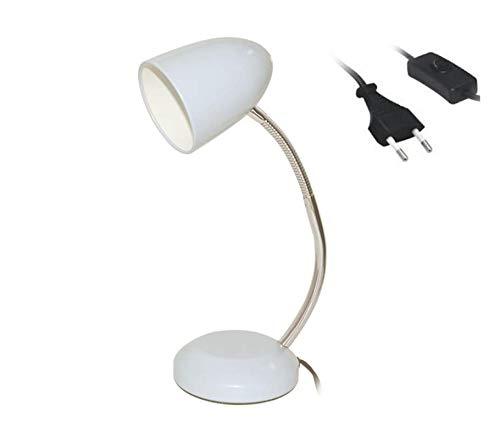 Lámpara de Escritorio, Flexo Escritorio, Cable con Interruptor, Lámpara de Mesa para Estudiantes y Oficinas (Blanco)