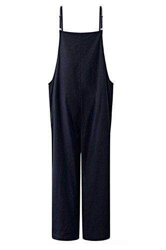Monos Mujer Largo Verano Colores Modernas Elegantes Overall Casual Vintage Sólidos Sin Mangas Traje Pantalón Fashion Cómodo Straps Playsuit Mono (Color : Blau, Size : 2XL)