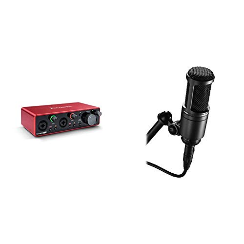 Focusrite Scarlett 2i2 3rd GenInterfaz de audio USB + Audio-Technica AT2020Micrófono de condensador, Color Negro