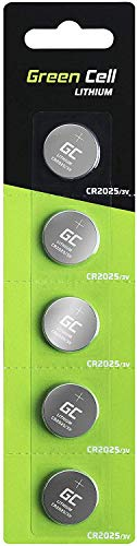Green Cell CR2025 Lithium Knopfzellen 3V Lithiumbatterie Batterie in Original Blisterverpackung 5er Pack (Batterien einzeln entnehmbar)