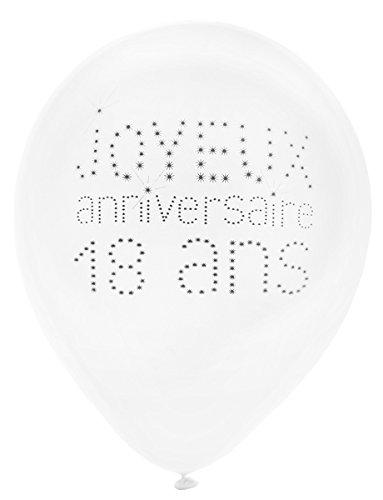 Santex 8 Ballons en Latex 18 Ans Anniversaire Chic 23 cm - Blanc - Taille Unique
