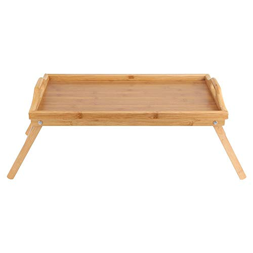 Mesa de desayuno 50 * 30 CM portátil de bambú para desayuno, computadora portátil, escritorio, té, comida, mesa de comedor, patas plegables con asas, patas plegables, bandeja de cama, mesa adecuada pa
