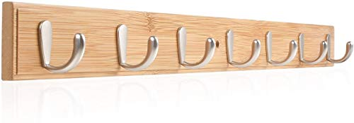 HOMFA Ganchos de Bambú Perchero de montaje en pared Percha de pared de Madera con 7 Ganchos para Dormitorio Baño y Cocina 74x7.5x5.3cm