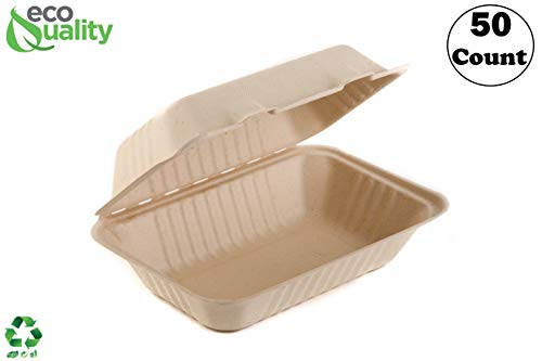 EcoQuality [50 Pack] 6 x 9 x 3 in Compostable Clam Shell Take Out Food Container - Sugarcane Bagasse, Tree Free - Restaurant Supplies, Microwavable, Bidodegradable, Recyclable, Heavy Duty (Rectangle)