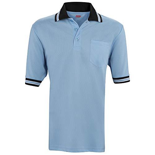 ADAMS USA Short Sleeve Baseball Umpire Shirt - Sized for Chest Protector, Powder Blue Black, 3X-Large
