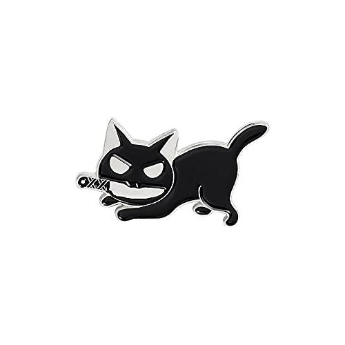 Broches para mujer, alfileres de esmalte de gato asesino, divertido animal, gatito, cuchillo, insignia para camisa, abrigo, alfiler de solapa, broches de dibujos animados, joyería, regalos para amig