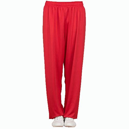 Pantalon De Tai Chi Femme Et Hommes Lait De Soie Yoga Costume Kung Fu Sportswear Loisir Confortable Respirant Zen Méditation Arts Martiaux Uniforme Wing Chun Shaolin Vêtements,Red-L