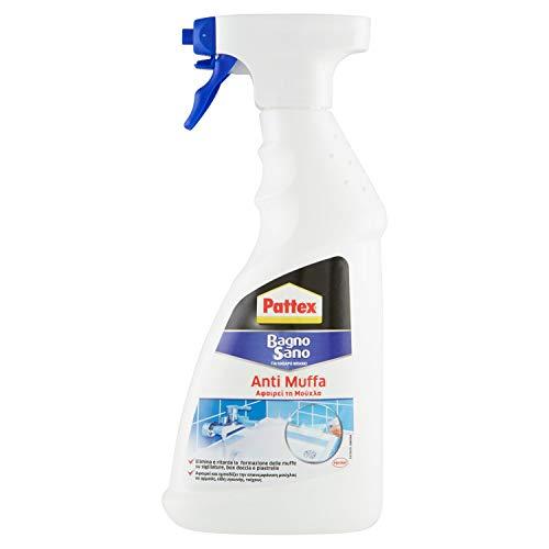 Pattex Bagno Sano Antimuffa Spray Igienizzante, Battericida spray al cloro attivo per fughe e sanitari, Spray antimuffa per sigillature sempre disinfettate, 1x500ml