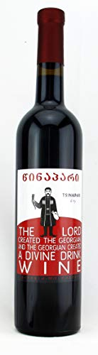 Georgischer roter Wein TSINAPARI, trockene Version vom berühmte Wein Kindzmarauli, spät gelesen, ungefiltert, aus autochthone Rebsorte Saperavi, Appellation Kindzmarauli