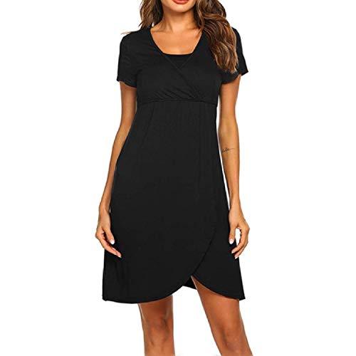 beauty magic Women Pregnant Maternity Nursing Breastfeeding Dress Clothes for Pregnant Women,Black,M