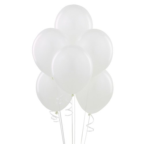 Homeford Premium Latex Balloons Plain Color, 12-Inch, 12-Count (White)