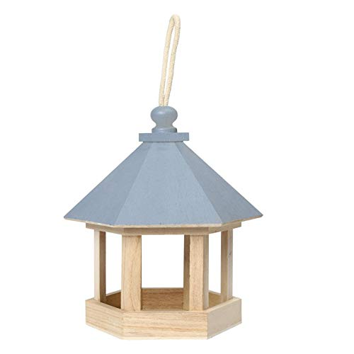 XYXZ Bird Seed Feeder Tray Holz Hängenden Typ Outdoor Haustier Vogelfutter Futter Feeder Baum Garten Snacks Eimerhalter Feed Station Blau