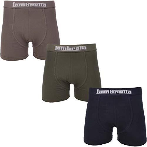 Lambretta Herren Boxershorts, elastisch, Marineblau/Anthrazit/Khaki Gr. X-Large, Multi