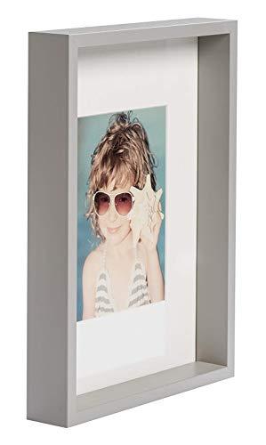 BD ART A4, 21 x 30 cm Box Marco de Fotos con Paspartu 13 x 18 cm, Gris Claro