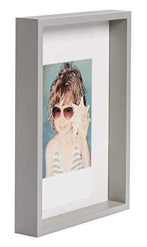 BD ART A4, 21x30 cm Dokument, Zertifikat Box Bilderrahmen mit Passepartout 13 x 18 cm, Hellgrau