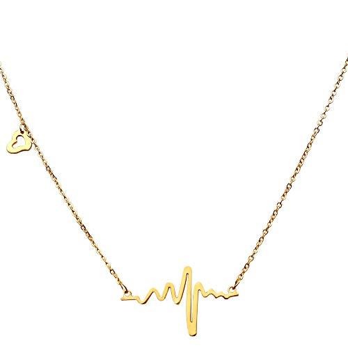 tumundo® Hals-Kette Herzschlag Puls Rythmus EKG Herz-Frequenz Anhänger Edelstahl Damen Geschenkbox Etui, Variante:silbern