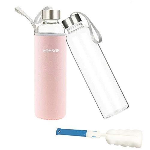 Voarge Botella de Agua Cristal 550ml, Botella de Agua Reutilizable 18 oz, Sin BPA Antideslizante Protección Neopreno Llevar Manga y Cepillo de Esponja, Rosa