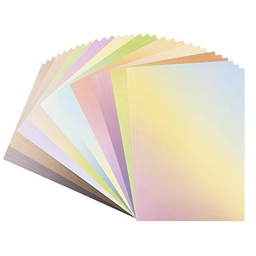 Dekor-Papier mit Farbverlauf | bunter Deko-Karton | DIN A4 | 250 g/m² | intensiv oder Pastell (10 Verschiedene Farbverläufe | 30 Bogen)