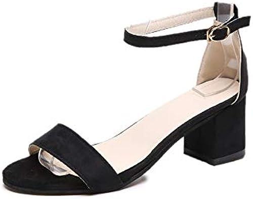 RLJJCS Offene Sandalen Sommer Sandalen Dick Mit Wildem Temperament Eleganter Damen Schuhe Mode Schnalle Schuhen Sandalen Frauen Wilder Sommer Schuhe (Farbe   schwarz, Größe   39)