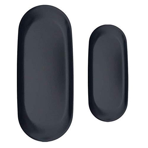 XIAQIU Bandeja de almacenamiento de acero inoxidable de 2 tamaños, bandeja para servir delicadamente para sostener la toalla, té, frutas, joyas, cosméticos (Negro)