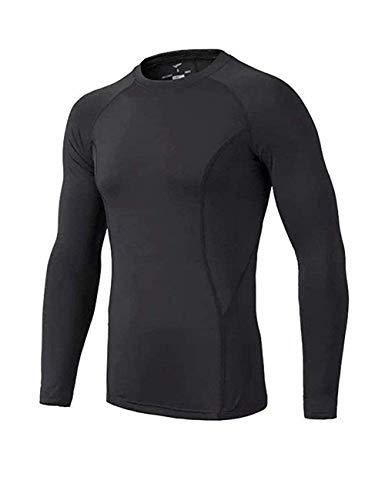 BUYKUD Kids' Boys Long Sleeve Base Layer Compression Underwear Athletic Shirt Tights Top & Bottom Set, 9-10years, Black