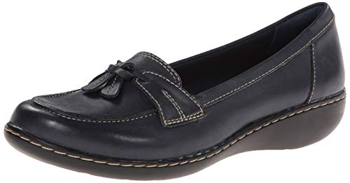 Clarks Women's Ashland Bubble Slip-On Loafer, Navy Leather, 8 W US