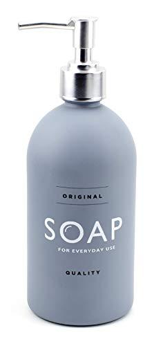 ASN Store Seifenspender aus Glas mit Plastikpumpe | 500 ml | für Seife, Spülmittel, Shampoo, ideal für Bad und Küche, matt (Grau)