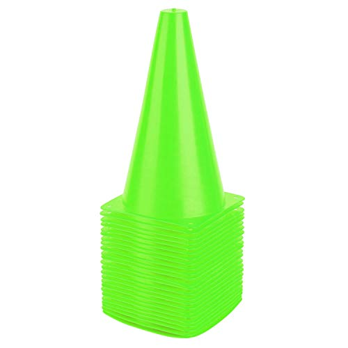 9 Inch Sports Cones, Basketball Cones, Traffic Training Cones, Agility Field Marker Cones for Soccer Football Drills Training, Outdoor Activity or Events - Set of 24, Green