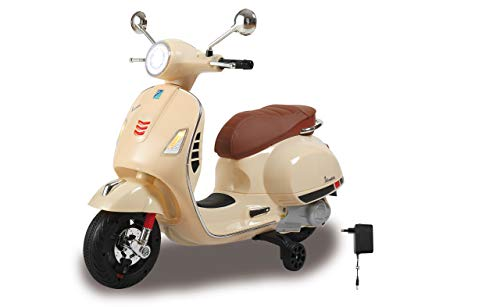 Jamara 460599 Ride-on Vespa GTS 125 beige krachtige aandrijfmotor en accu, SD-kaartsleuf, AUX-/USB-aansluiting, ultra-grip rubberen ring op wiel, steunwielen, LED-koplamp