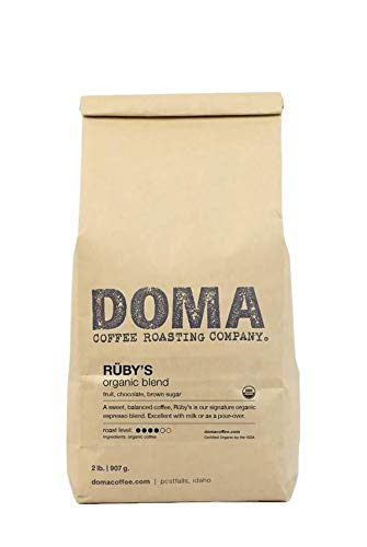 Doma Coffee 'Ruby's Organic Espresso' Medium Roasted Fair Trade Organic Whole Bean Coffee - 2 Pound Bag