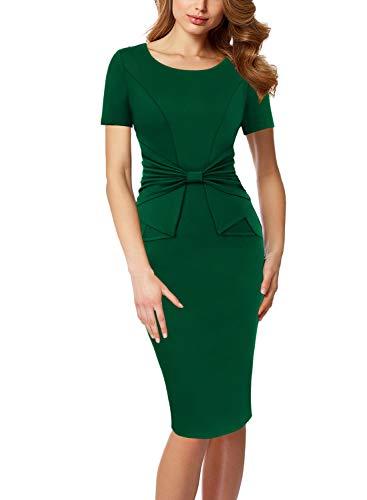 VFSHOW Womens Green Pleated Bow Wear to Work Office Business Church Bodycon Pencil Sheath Dress 3612 GRN L