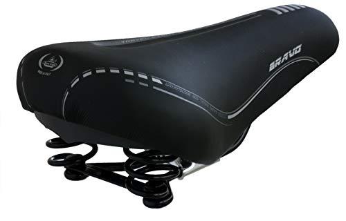 Sillín Montegrappa original de piel sintética con doble muelle antigolpes para City Bike y MTB. Mod. El Bravo Soft.