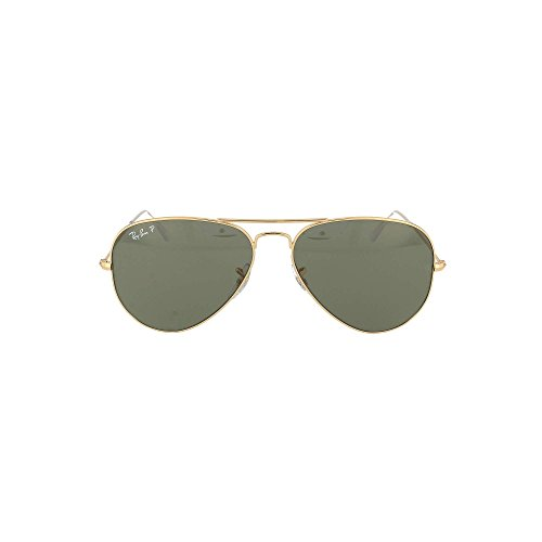 Ray-Ban Gold/Green Aviator Large Polarized Sunglasses