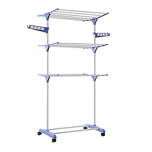 MIEDMJJ Floor Standing Towel Stand, Three-Layer Metal Vertical Towel Rack, for Bathroom, Pool, Kitchen, Washroom/Blue / 75x65x170cm