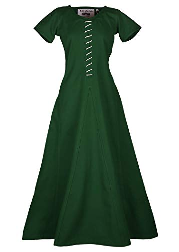 Battle-Merchant middeleeuwse jurk met veters voor dames Cotehardie AVA - korte mouwen - middeleeuwse jurk - Viking - LARP - kostuum