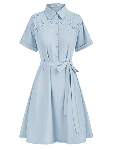 Vestido Eelegante de Verano para Mujer Mangas Cortas con Cinturón Azul L