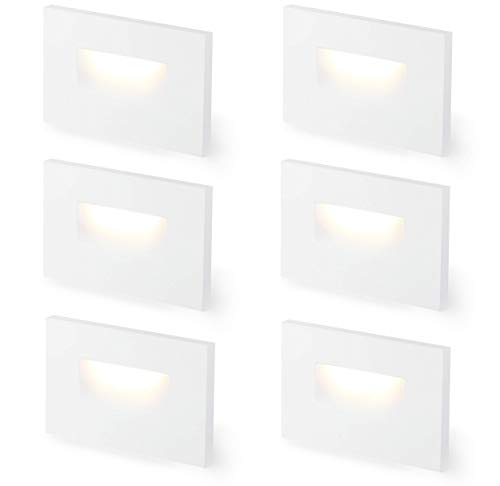 Cloudy Bay 3 Color 120V Dimmable LED Indoor Outdoor Step Light,3000K/4000K/5000K 3W 100lm,Stair Light,White,6 Pack