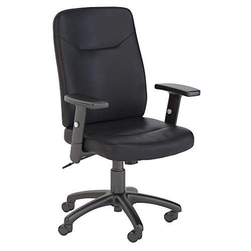 Bush Business Furniture Stanton High Back Leather Executive Office Chair in Black